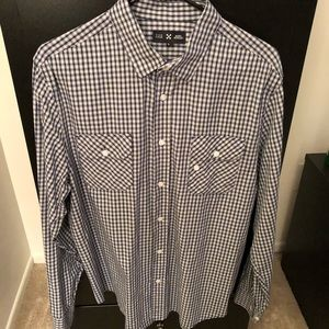 Like New Five Four navy/white plaid button-down